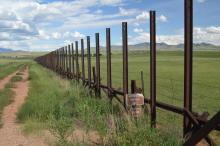 Border fences in Southern Arizona