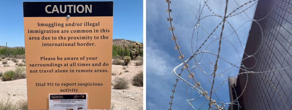 Sign cautioning about illegal immigration and barbed wire along border