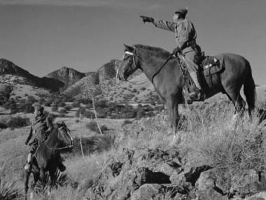 Two soldiers on horses from black and white film